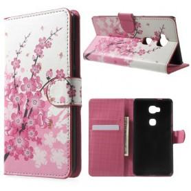 Huawei Honor 5X vaaleanpunaiset kukat puhelinlompakko