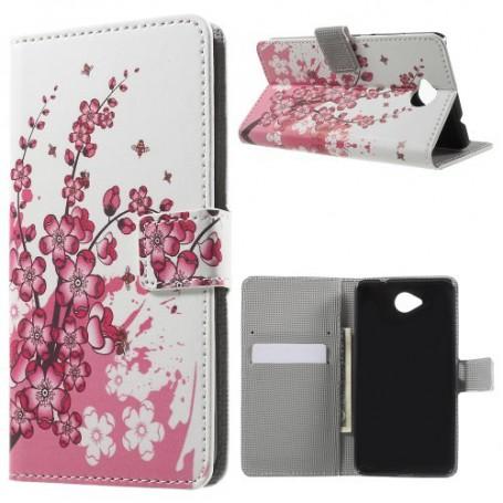 Lumia 650 vaaleanpunaiset kukat puhelinlompakko