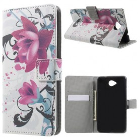 Lumia 650 violetit kukat puhelinlompakko