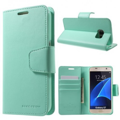 Samsung Galaxy S7 sinisen vihreä puhelinlompakko