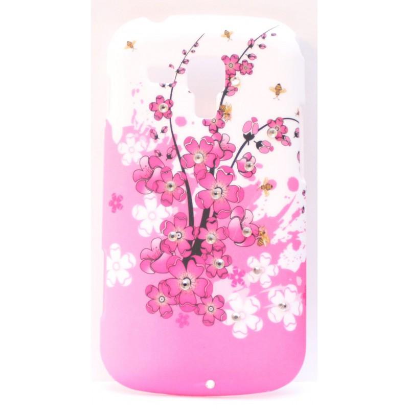 Samsung Galaxy Trend timattikoristellut vaaleanpunaiset kukkakuoret.