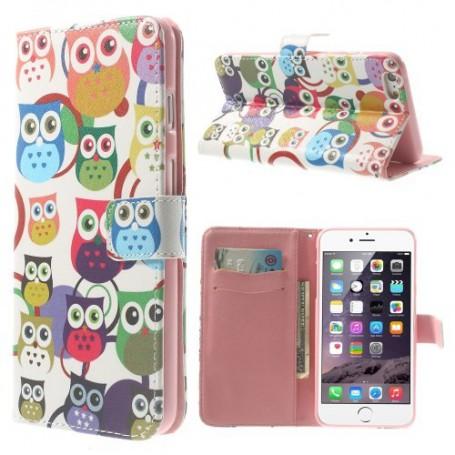 iPhone 6 plus värikkäät pöllöt puhelinlompakko
