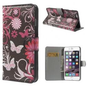 iPhone 6 plus kukkia ja perhosia puhelinlompakko