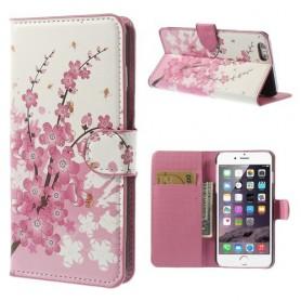 iPhone 6 plus vaaleanpunaiset kukat puhelinlompakko