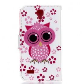 Huawei Y5 pinkki pöllö puhelinlompakko