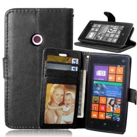 Lumia 520 musta lompakko suojakotelo.