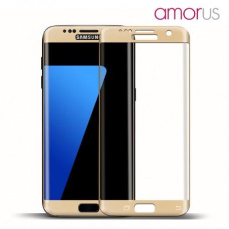Samsung Galaxy S7 edge kirkas karkaistu lasikalvo kullan väriset reunukset.