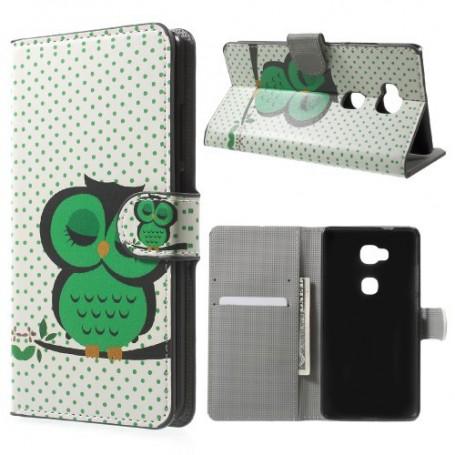 Huawei Honor 5X vihreä pöllö puhelinlompakko