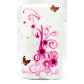 Lumia 520 kukkia ja perhosia silikonisuojus.