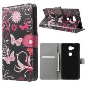 Huawei Honor 5X kukkia ja perhosia puhelinlompakko