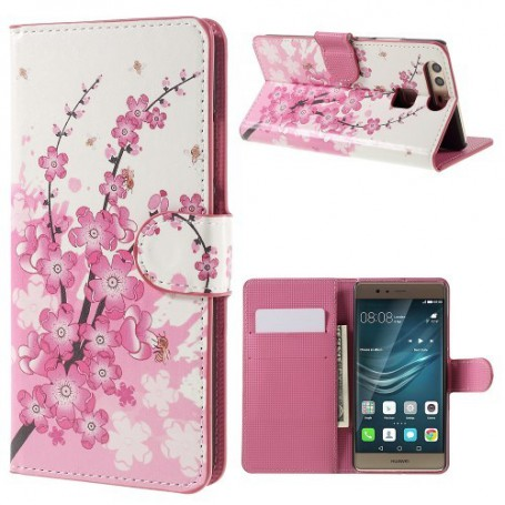Huawei P9 vaaleanpunaiset kukat puhelinlompakko