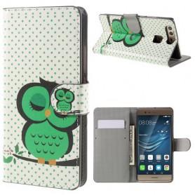 Huawei P9 vihreä pöllö puhelinlompakko