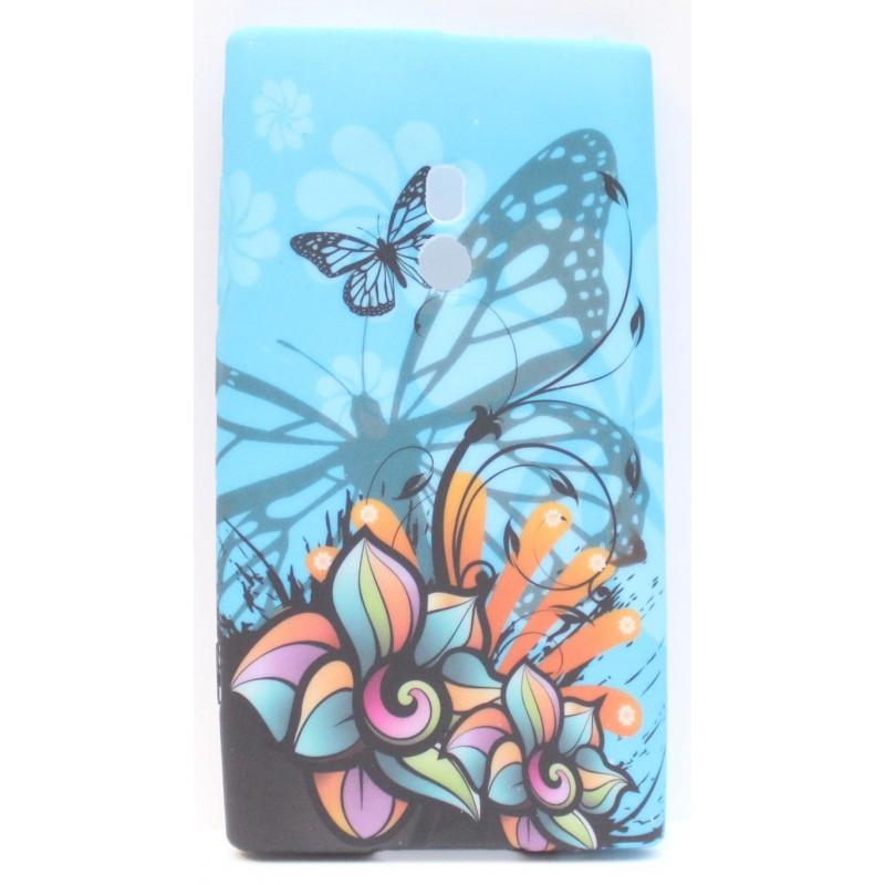 Lumia 800 sininen perhonen silikonisuojus.