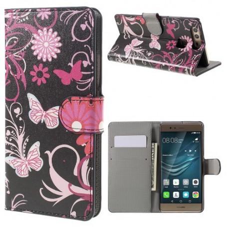 Huawei P9 kukkia ja perhosia puhelinlompakko