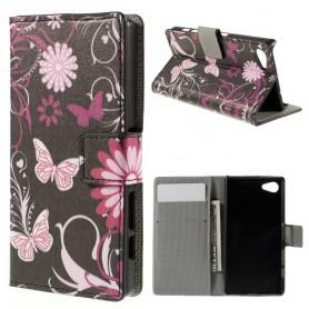 Sony Xperia Z5 Compact kukkia ja perhosia puhelinlompakko