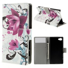 Sony Xperia Z5 Compact violetit kukat puhelinlompakko