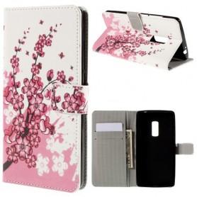 OnePlus 2 vaaleanpunaiset kukat puhelinlompakko