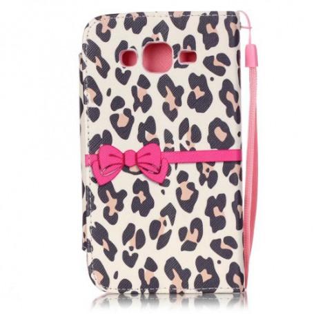 Samsung Galaxy J5 vaaleanpunainen leopardi puhelinlompakko