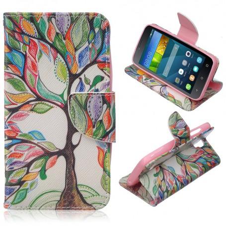 Huawei Y5 värikäs puu puhelinlompakko