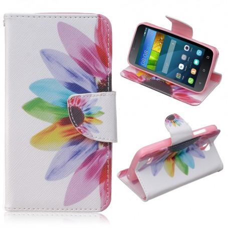 Huawei Y5 värikäs kukka puhelinlompakko