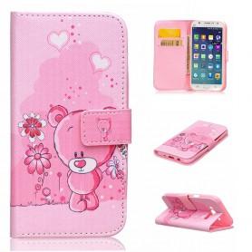 Samsung Galaxy J5 vaaleanpunainen nalle puhelinlompakko