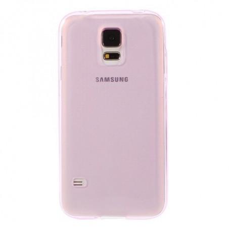 Samsung Galaxy S5 vaaleanpunainen läpinäkyvä silikonisuojus.