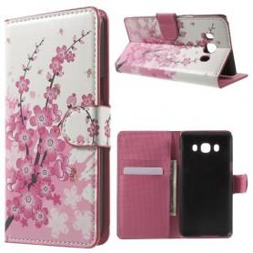 Samsung Galaxy J5 2016 vaaleanpunaiset kukat puhelinlompakko