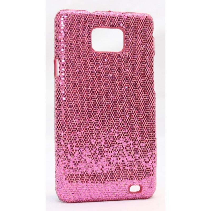 Galaxy S2 pinkin värinen glitter suojakuori.