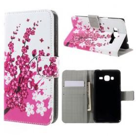 Samsung Galaxy J3 vaaleanpunaiset kukat puhelinlompakko
