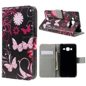 Samsung Galaxy J3 kukkia ja perhosia puhelinlompakko