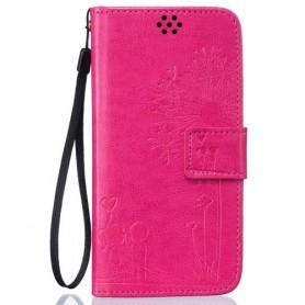 Samsung Galaxy J3 2016 pinkki voikukka puhelinlompakko
