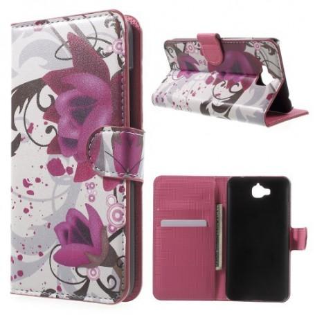 Huawei Y6 Pro violetit kukat puhelinlompakko