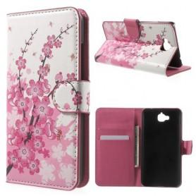 Huawei Y6 Pro vaaleanpunaiset kukat puhelinlompakko