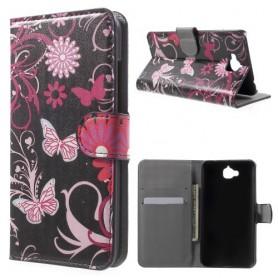 Huawei Y6 Pro kukkia ja perhosia puhelinlompakko