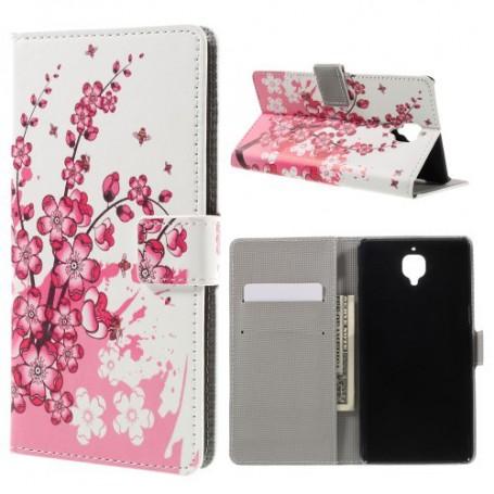 OnePlus 3 vaaleanpunaiset kukat puhelinlompakko