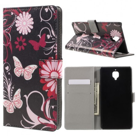 OnePlus 3 kukkia ja perhosia puhelinlompakko