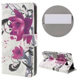 Huawei Y5 II violetit kukat puhelinlompakko