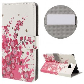 Huawei Y5 II vaaleanpunaiset kukat puhelinlompakko