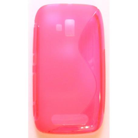 Lumia 610 roosan punainen silikonisuojus.