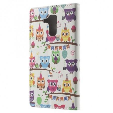 Huawei Honor 7 Lite värikkäät pöllöt puhelinlompakko