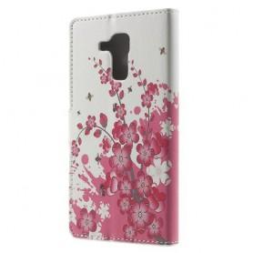 Huawei Honor 7 Lite vaaleanpunaiset kukat puhelinlompakko