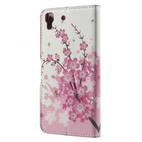 Huawei Y6 vaaleanpunaiset kukat puhelinlompakko