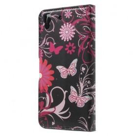 Huawei Y6 kukkia ja perhosia puhelinlompakko
