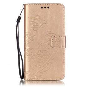 Huawei Y6 kullan värinen perhoset puhelinlompakko