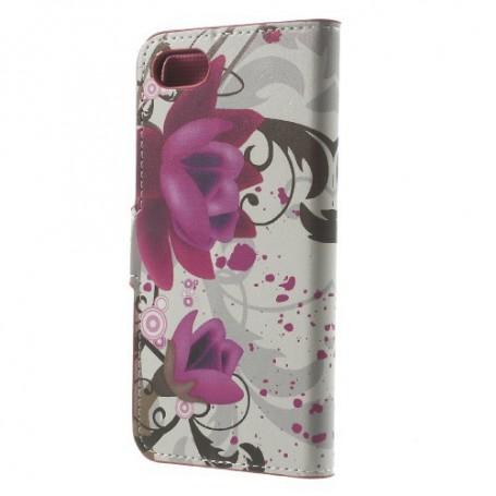 Apple iPhone 6/7/8/SE 2020 violetit kukat puhelinlompakko