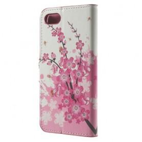 Apple iPhone 7 vaaleanpunaiset kukat puhelinlompakko