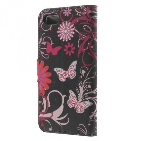 Apple iPhone 7/8/SE 2020 kukkia ja perhosia puhelinlompakko