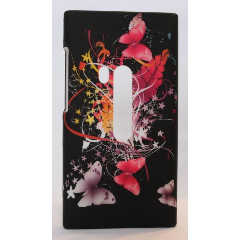 Nokia N9 suojakuori perhoset mustalla taustalla.