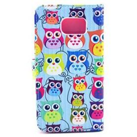 Samsung Galaxy S6 värikkäät pöllöt puhelinlompakko
