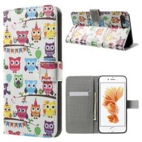 Apple iPhone 7 plus värikkäät pöllöt puhelinlompakko